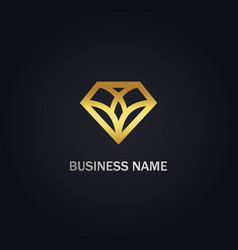 diamond geometry shape line gold logo vector image
