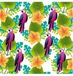 exotic parrot bird flower leaves tropical vector image