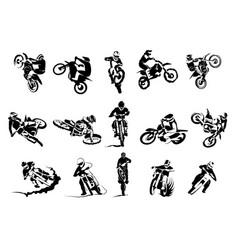 Extreme bike big set 14x motocross vector