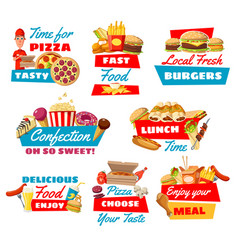 fast food icons with street meals vector image