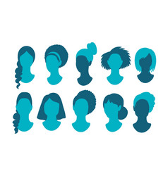 Female anonymous profile pictures avatars vector