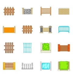 Fencing modules icons set cartoon style vector