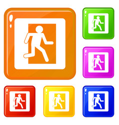 Fire exit sign icons set color vector