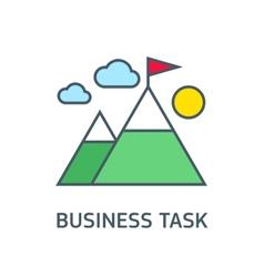 Flag on mountain peak winning strategy vector