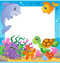 Frame with underwater animals 1 vector