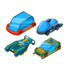 futuristic isometric cars 3d low poly vector image