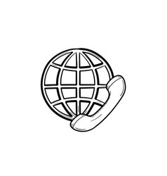 globe and phone receiver hand drawn outline doodle vector image