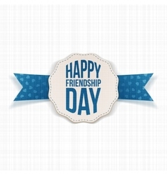 Happy Friendship Day Label with blue Ribbon vector