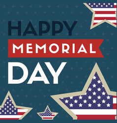 happy memorial day background star and stripes vector image