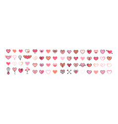 heart icon big set flat pink and thin black vector image
