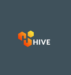 hive cells absrtract sign symbol or logo vector image