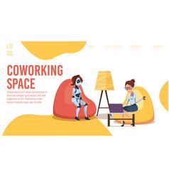 Innovative coworking office flt web banner vector