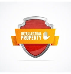 Intellectual property Protect shield on white vector image