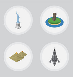 isometric travel set of chile egypt paris and vector image