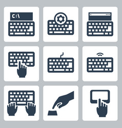 Keyboard and typing related icon set vector