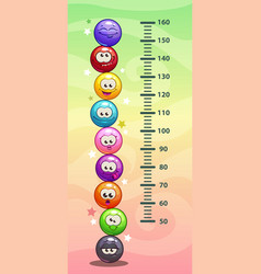 Kids height chart wall metter with funny cartoon vector