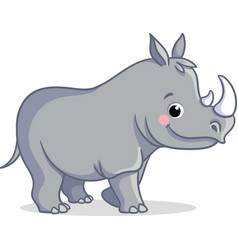 Little rhino is standing on a white background vector