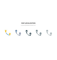 Map localization icon in different style two vector