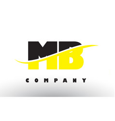 Mb m b black and yellow letter logo with swoosh vector
