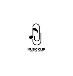 Music clip logo design vector