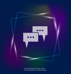 neon light icon cloud with thoughts with three vector image