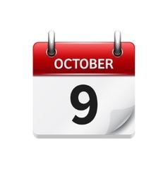 October flat daily calendar icon date vector