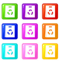 Package recycling icons 9 set vector