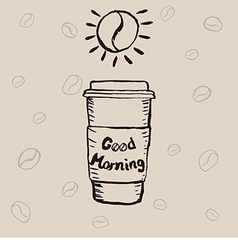 Paper coffee cup and lettering vector
