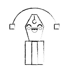 Pen cartoon smiley vector