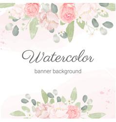 Pink pastel watercolor rose flower bouquet vector