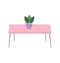 pink table with potted plant decoration isolated vector image