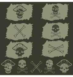 pirate skull with hat set on flags and icons vector image