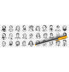 portraits middles ages people doodle set vector image