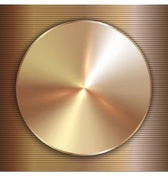 precious metal round golden plate with line vector image
