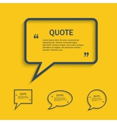 Quote line speech bubble set vector