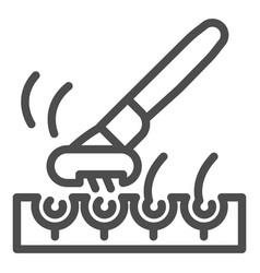 Razor and bristle hair line icon face shaving vector