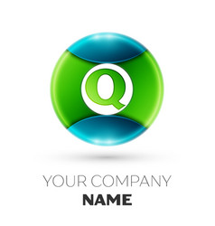 Realistic letter q logo symbol in colorful circle vector