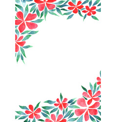 red hibiscus flowers bush watercolor background vector image