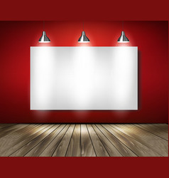 Red room with spotlights and wooden floor vector image
