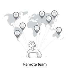 Remote team concept vector