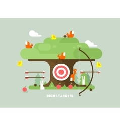 Right targets tree with animal vector