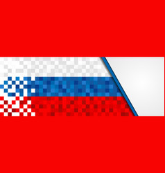 Russia web banner of russian pixel art flag vector