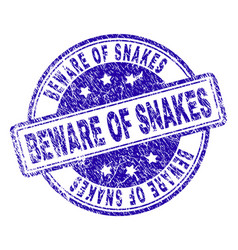 Scratched textured beware of snakes stamp seal vector
