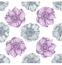 seamless pattern with hand drawn pastel anemone vector image