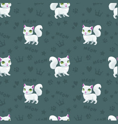 seamless pattern with pretty white cats vector image
