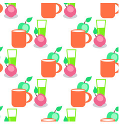 seamless pattern with red mug glass and apples vector image