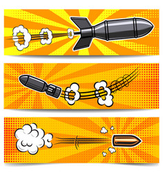 set banner templates with comic style bomb vector image