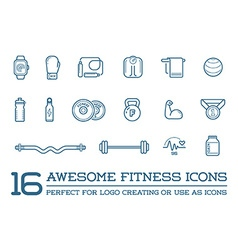 Set fitness aerobics gym elements and fitness vector