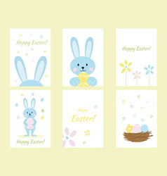 set greeting cards with easter rabbits image vector image