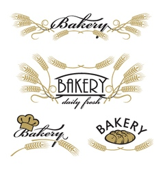 Set of bakery product logos vector